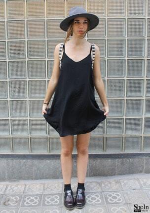 black spaghetti strap shift dress sheinsheinside