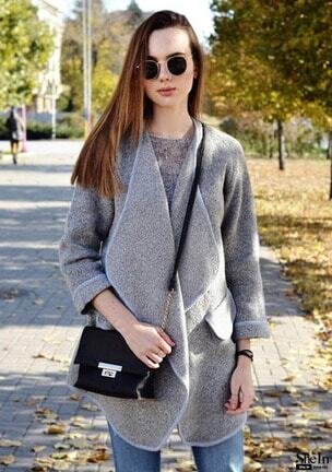 Grey Lapel Long Sleeve Loose Sweater Coat -SheIn(Sheinside)
