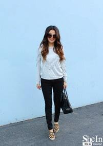 Grey Fringe Decorated Sweatshirt