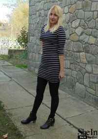 White Black Strips Dress