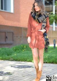Red Loose Pockets Dress