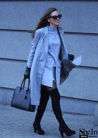 Grey Pockets Dress and Lapel Coat