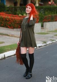 Dark Green Dress and Over Knee Socks