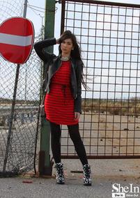 Red Black Strips Dress