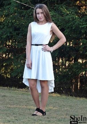 White Sleeveless Asymmetric Hem Flare Dress -SheIn(Sheinside)