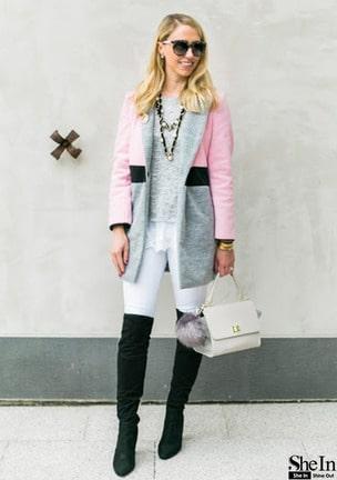 Notched Lapel Color Block Coat -SheIn(Sheinside)