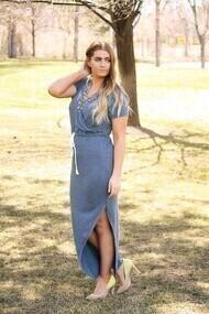 Blue Beachy Short Sleeved Dress