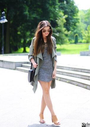 grey lace up neckline tight jersey dress sheinsheinside