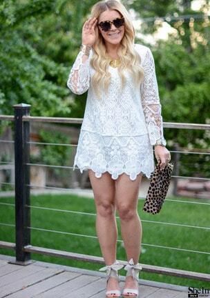 long sleeve crochet lace dress sheinsheinside
