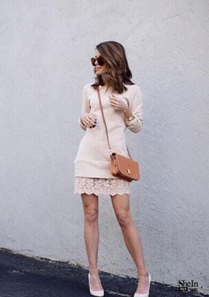 apricot long sleeve with lace dress sheinsheinside