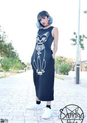 cat print sleeveless dress sheinsheinside