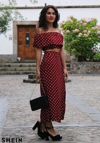 polka dot top with skirt