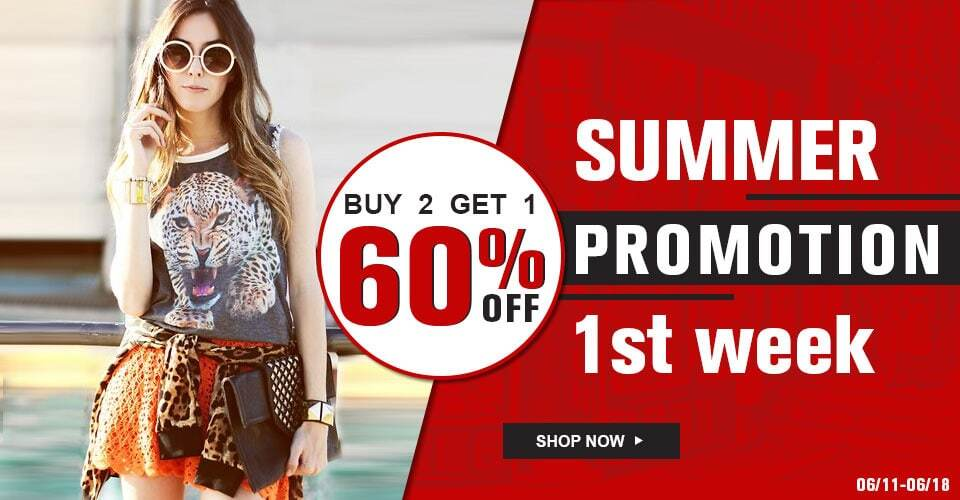 Buy 2 Get 1 60% off summer promotion 1st week + free express shipping on orders over $99 at Sheinside.com