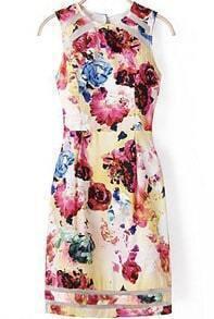 Vestido sin manga con organza flores -multicolor