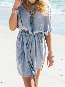 Grey Short Sleeve Tie-Waist Casual Dress