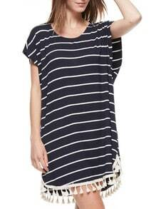 Navy Short Sleeve Tassel Striped T-Shirt Dress