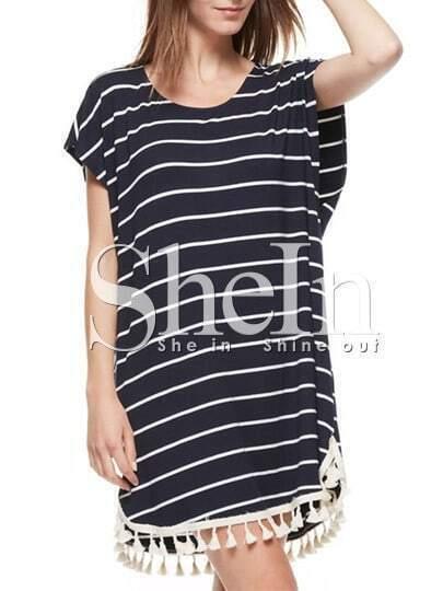 Navy Short Sleeve Tassel Trimmed Striped T-Shirt Dress