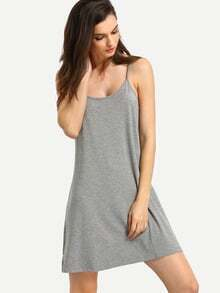 Grey Spaghetti Strap Backless Dress