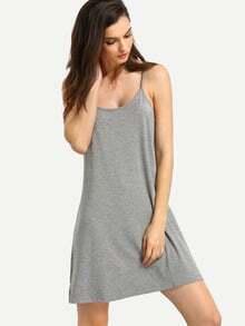 Grey Spaghetti Strap Backless Dress