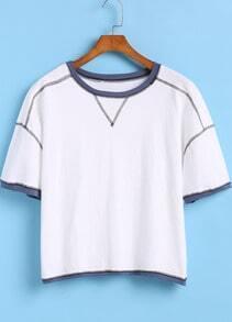 White Short Sleeve Contrast Trims Crop T-Shirt