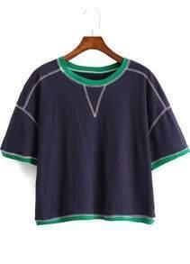 Blue Short Sleeve Contrast Trims Crop T-Shirt