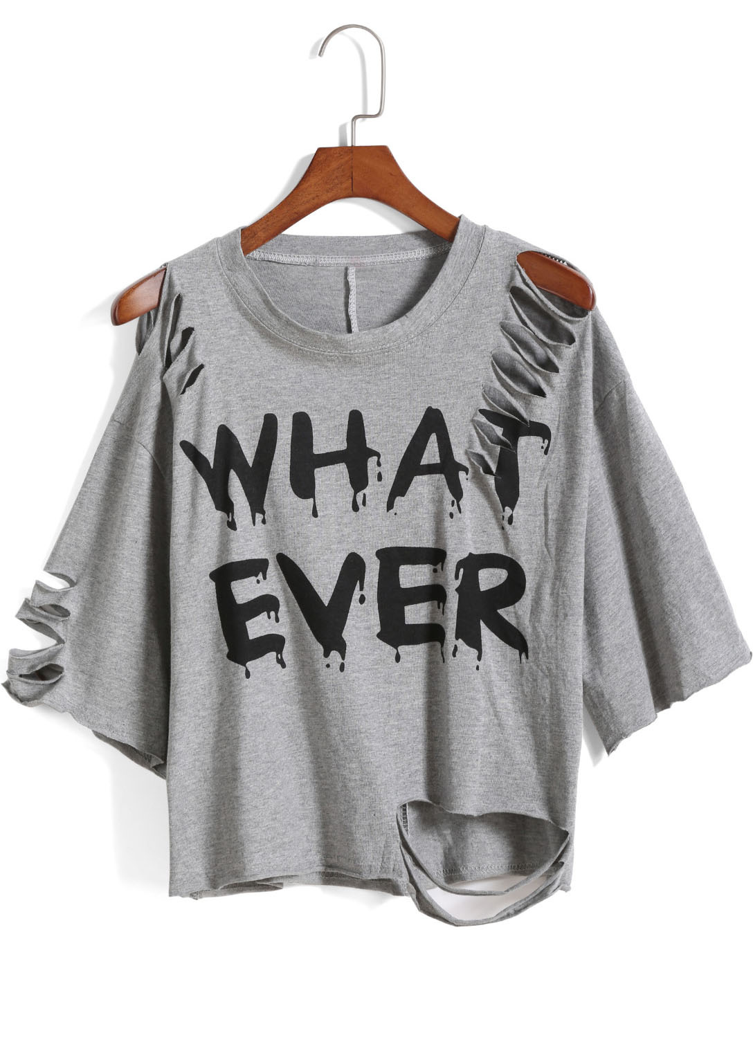 grey round neck ripped what ever print t shirt shein. Black Bedroom Furniture Sets. Home Design Ideas