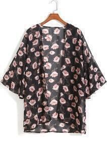 Black Floral Chiffon Loose Kimono