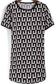 Black White Short Sleeve Geometric Print Dress