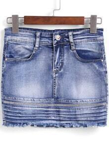 Blue Bleached Rhinestone Denim Skirt