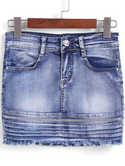 blue bleached rhinestone denim skirt shein sheinside