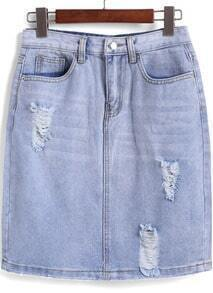 Blue Ripped Bodycon Denim Skirt