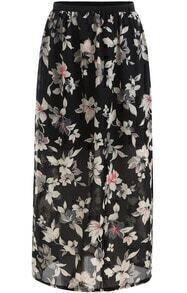 Black Floral Chiffon Split Skirt