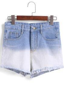 Blue Ombre Pockets Fringe Denim Shorts