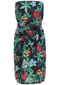 Navy Strapless Floral Belt Chiffon Dress