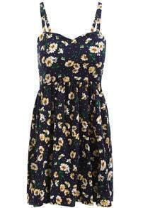 Navy Spaghetti Strap Daisy Print Dress