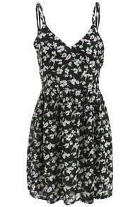 Black Spaghetti Strap Floral Backless Dress