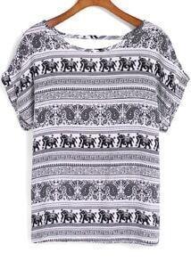 Black White Short Sleeve Tribal Elephant Print Blouse