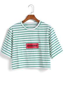 Green Short Sleeve Striped Crop T-Shirt