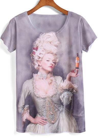 Grey Short Sleeve Beauty Print Loose T-Shirt