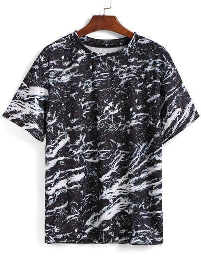 Black Short Sleeve Floral Loose T-Shirt