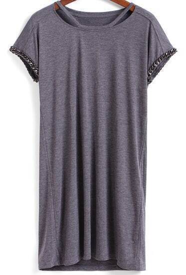Grey Short Sleeve Hollow Loose T-Shirt