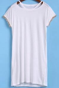 White Short Sleeve Hollow Loose T-Shirt