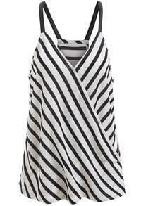Black White Spaghetti Strap Striped Cami Top