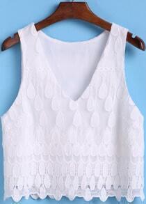 White V Neck Lace Crop Tank Top