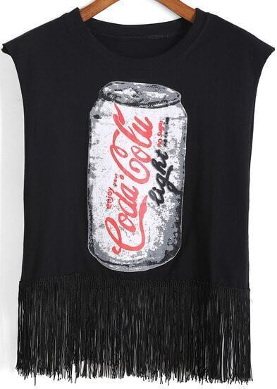 Black Cans Print Tassel Tank Top