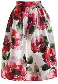 Red Floral Flare Long Skirt