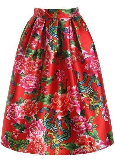 Red Peony Print Flare Long Skirt