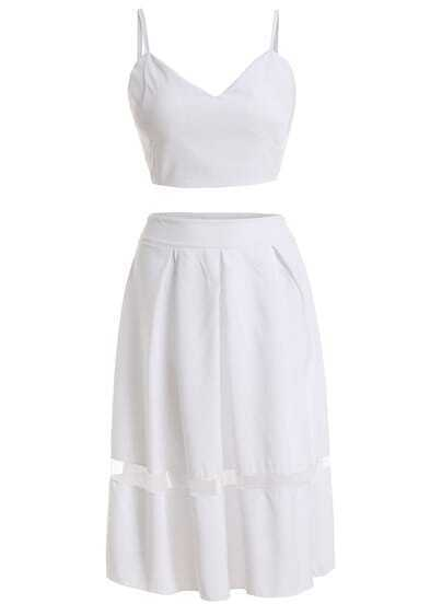 White Spaghetti Strap Crop Top With Mesh Skirt