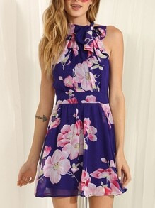 Blue Sleeveless Floral Print Dress