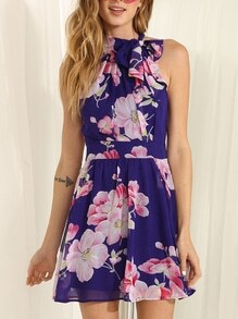 Blue Sleeveless Floral Patterned Print Dress